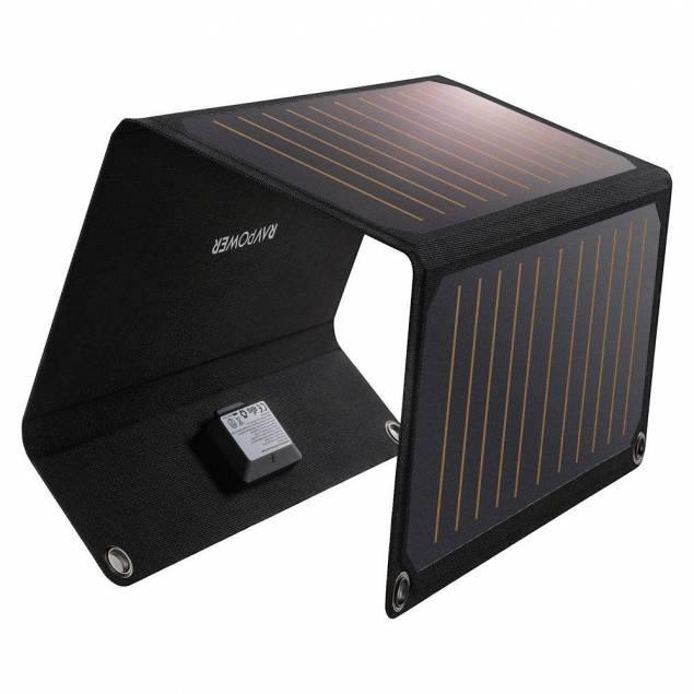 RAVPower PowerPort solcelle panel 21W 2-ports Sort