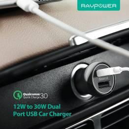 RAVPower 2x USB biloplader m. op til 30W opladning