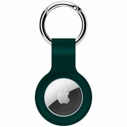 AirTag holder til nøglering i silikone i midnight green